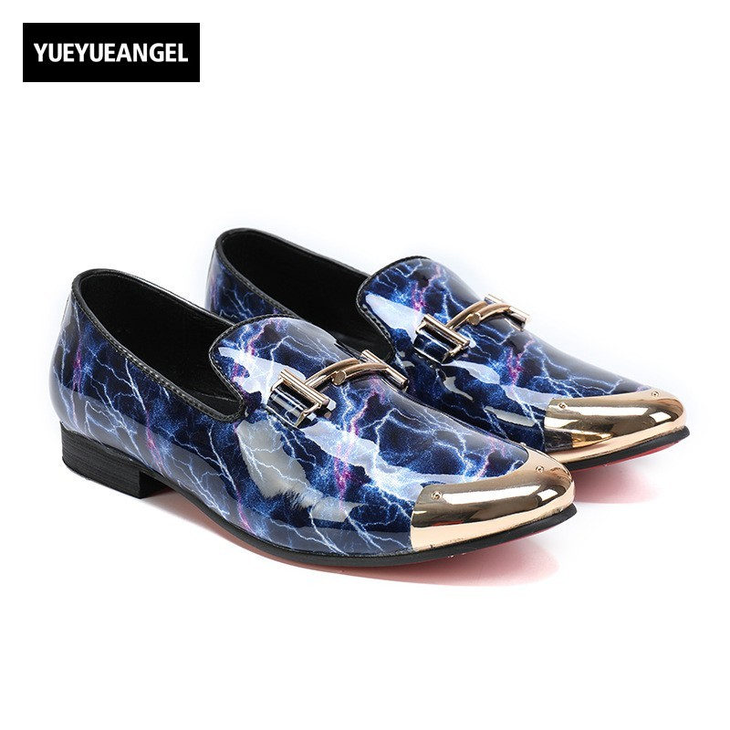 все цены на Top Brand New Mens Metal Toe Genuine Leather Shoes Slip On Loafers Fashion Colors Printed Wedding Party Footwear Male Large Size онлайн