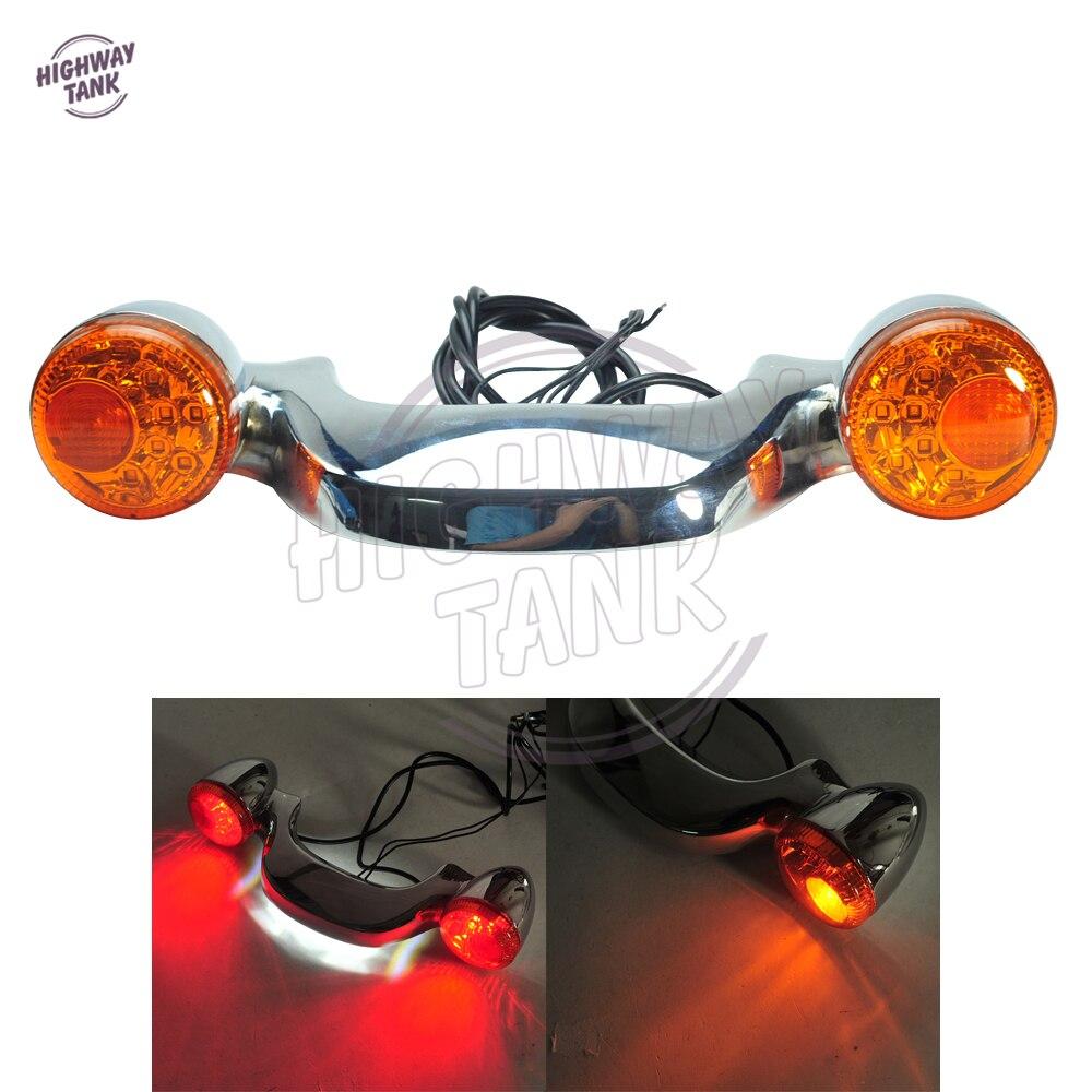 Chrome Motorcycle LED Rear Turn Signal Brake Light Bar Case for Harley Touring Street Road Glide 2010-2016