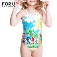 Swimwear das crianças para As Meninas de Biquíni Vestido Ternos Bonitos de Banho para Crianças Modelos de Maiô Desenho Design Bonito One Piece Beachwear