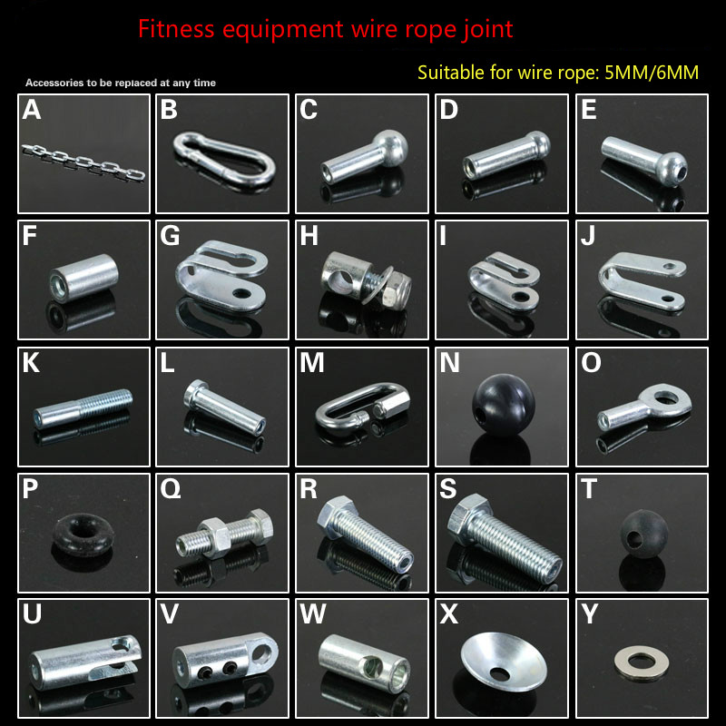 Steel Wire Accessories Gym Fitness Equipment Wire Rope Joints Anaerobic Exercise Metal Limit Ball Hollow Screw Terminals Gasket