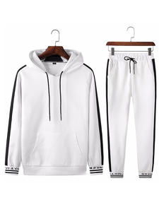 Mens Clothing Hoodies Sweatshirt White-Sets Fitness Casual Spring Black And 2-Pc Autumn