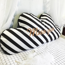 Cute clouds shaped  bed pillow cushion 120*60cm for girls, removable washing bedside decoration back striped pillow with core