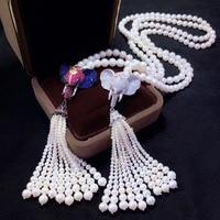 Ожерелье с подвеской в виде слона в виде животного длинное жемчужное ожерелье с кисточками из стерлингового серебра 925 пробы, ювелирные изд