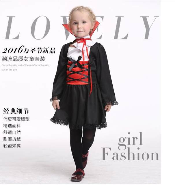 witch costume Girls Princess V&ire Costumes Childrenu0027s Day Halloween Costume for Kids Long Dress Carnival Party Cosplay  sc 1 st  Aliexpress & Online Shop witch costume Girls Princess Vampire Costumes Childrenu0027s ...