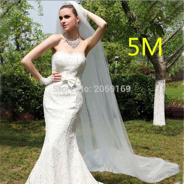 2017 Cheap 500CM White Long Bridal Veils 5M White Long One Layer Wedding Veils 2017