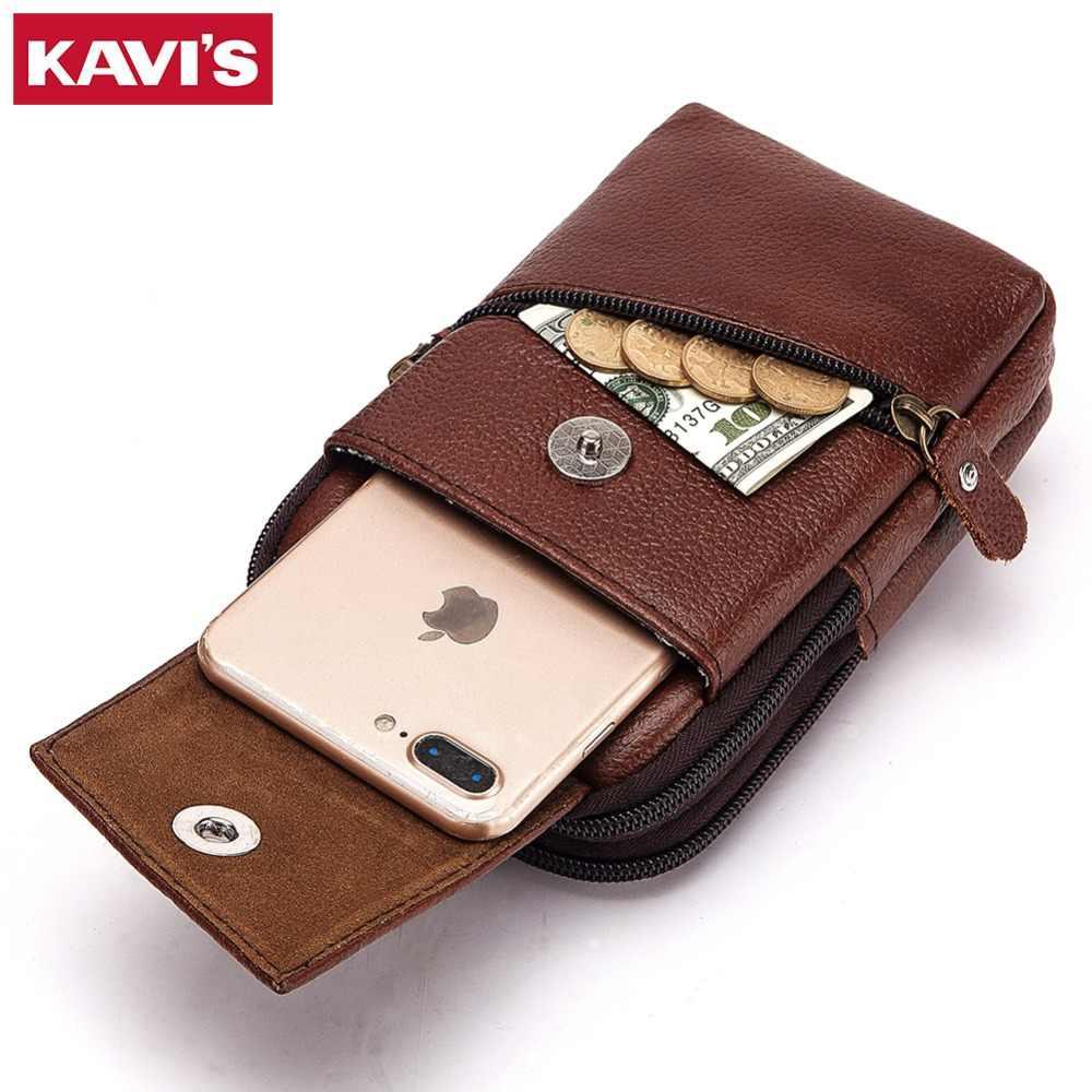 2a5ea99891 ... KAVIS 100% Genuine Leather Waist Packs Men Travel Fanny Pack Belt Loops Hip  Bum Bag ...