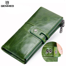 GENMEO Genuine Leather Wallet Women Fashion Clutch Bags Female Coin Purse with Phone Pocket Bolsa