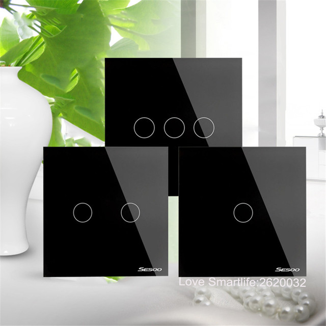 EU/UK Standard SESOO Touch Switch 1 Gang/2 Gang/3 Gang 1 Way,Single Fireline Wall Light Switch,Black Crystal Tempered Glass