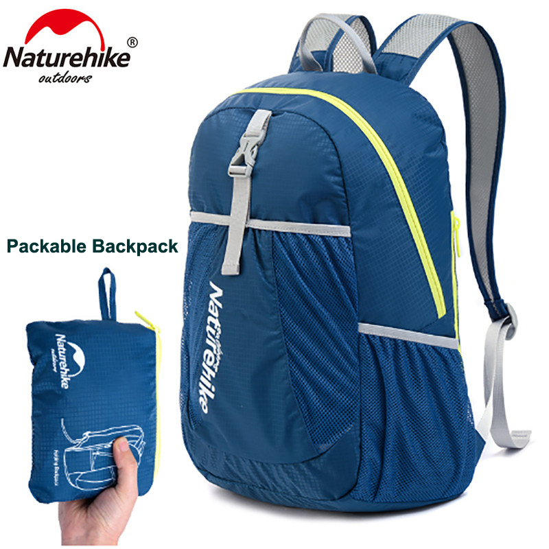 NatureHike Outdoor Ultralight Packable Backpack Water Resistant Durable Folding Travel Bag Hiking Camping Cycling Daypack 22L naturehike outdoor camping collapsible folding water carrier container white 10l
