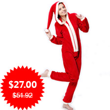 Ladies Plus Size Coral Fleece Hooded Christmas Costume Onesie Winter Warm Christmas Party Clothes Pajama Onesie For Women