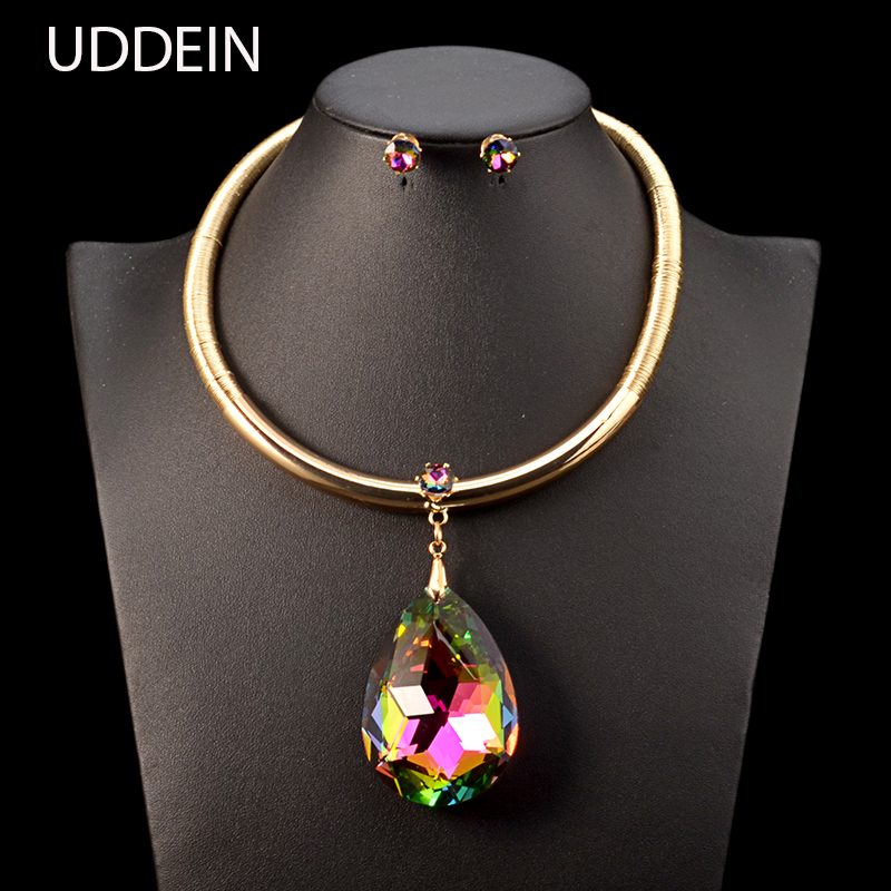 UDDEIN Vintage Maxi Necklace Color Big Crystal Pendant Bohemian Jewelry Sets Nigerian Wedding Statement Choker Necklace Women