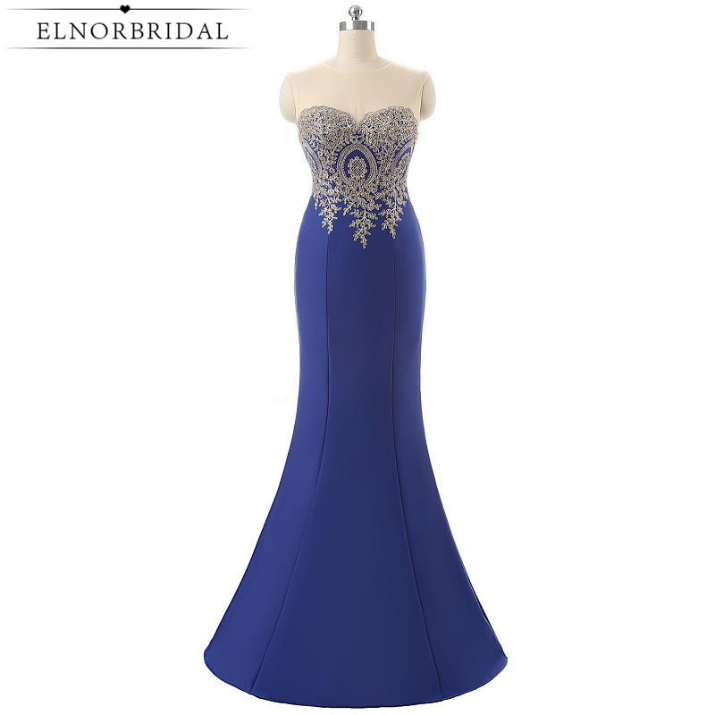 Royal Blue Sheer Evening Dresses Mermaid 2017 Formal Illusion Back Vestido De Noche Special Occasion Prom Dress Long Party Gowns