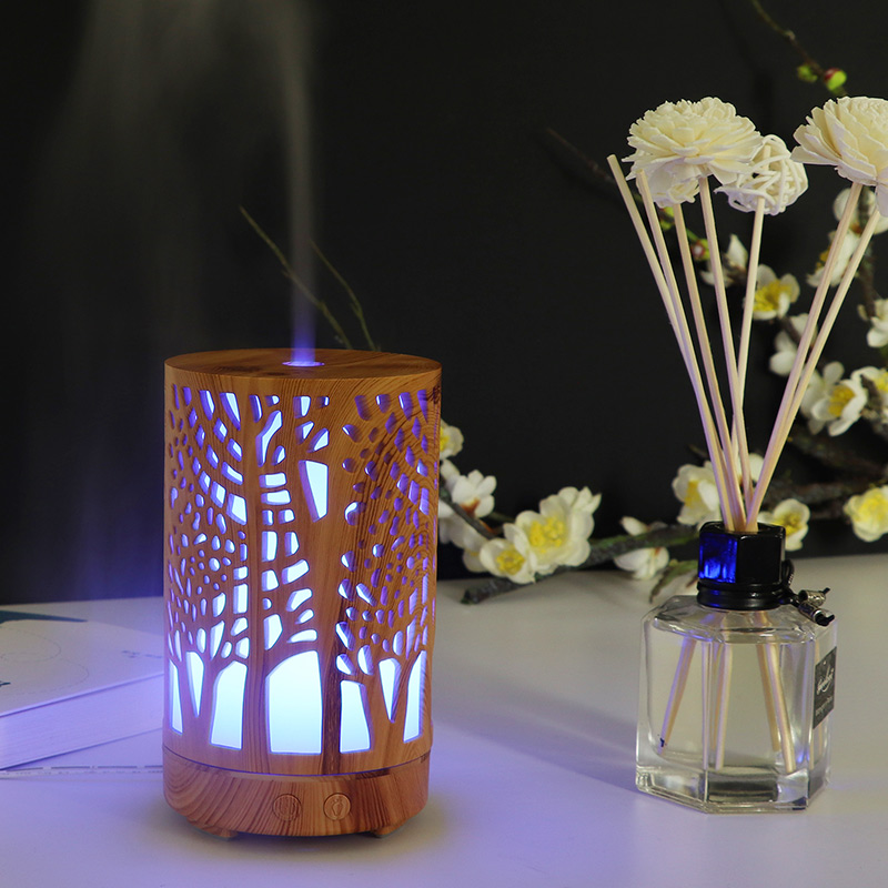 7 colors LED night light with 100ml Air Humidifier Essential Oil Aroma Diffuser air Purifier Hollow cylinder for home office in LED Night Lights from Lights Lighting