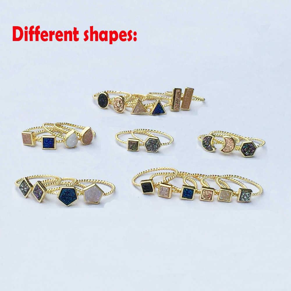 BOROSA Dropshipping ธรรมชาติ Agates ไทเทเนียมสายรุ้ง Druzy แหวนสามเหลี่ยมรูปร่างแชมเปญ Druzy แหวนคู่