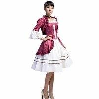 Fashion Spring Summer Women Vintage Lolita Cotton Dress Female Party Dress Purple Shawl Strapless Sundress 2 Pieces Dress