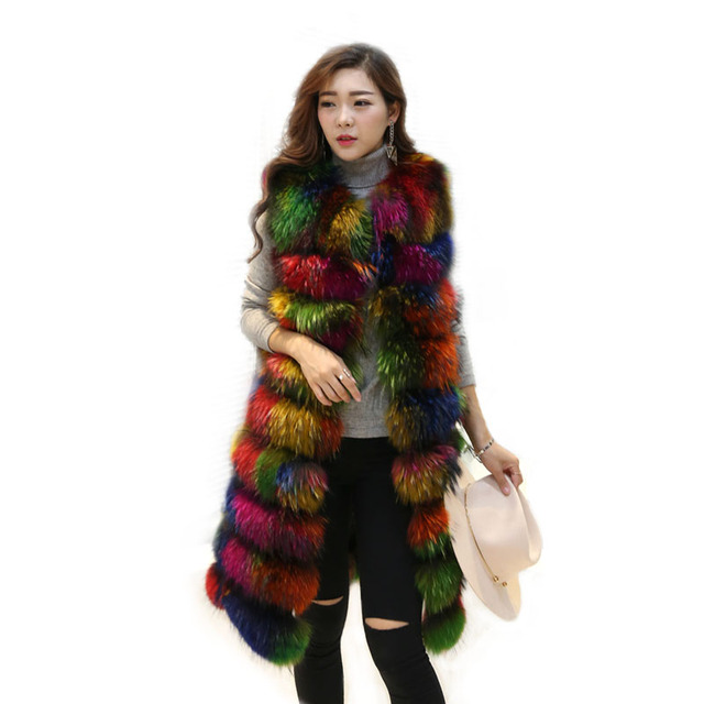 New genuine raccoon fur vest women 2016 fashion long natural fur female vest multi colorful over coat outwear free shipping