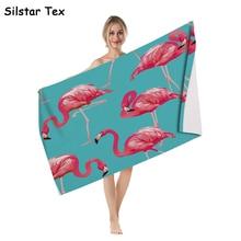 Silstar Tex Flamingo Bath Towel Large Beach Towels Microfiber Travel Outdoor Swimming Gym Bathroom