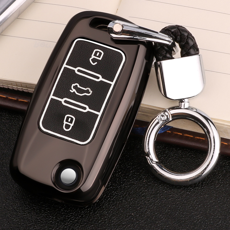 Luminous Leather Car-Styling Key Cover Case For Skoda Kodiaq Rapid Octavia 1 2 A5 A7 Superb A7 Yeti For <font><b>VW</b></font> <font><b>Golf</b></font> <font><b>7</b></font> <font><b>GTI</b></font> MK7 Tiguan image