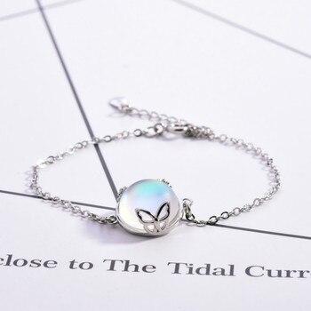 Bracelet Acier Pierre De Lune Bleu Été Femme