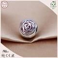 Muy Bonitas De Alta Calidad 925 Real de Plata de Rose Del Esmalte Rojo Perla Plana Encanto Ajustados Famosos de Europa Pulsera