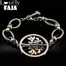 2019 Fashion Stainless Steel Charm Bracelet Women Tree of Life Silver Color Crystal Bracelet Jewelry pulceras para mujer B18052(China)