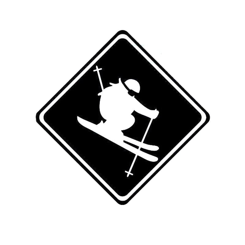 13CM*13.1CM Fashion Skier Decal Vinyl Car Sticker Decor Black/Silver S9-0438