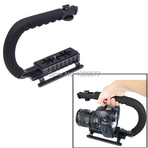 C Forma do flash Bracket titular Vídeo Handle Handheld Estabilizador Aperto para DSLR SLR Câmera Do Telefone Go pro AEE Mini DV Camcorder Ir pro