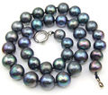 """FREE SHIPPINGBlack Round 10mm Cultured Pearl Necklace 17"""" Choker Real Black Pearl Necklace (A0513)"""