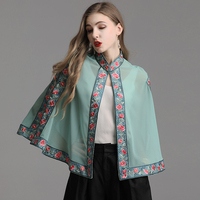 Top Quality Brand Chinese Style Coat Jacket 2019 Summer Tops Coat Women Luxurious Embroidery Vintage Cape Poncho Coat Outerwear