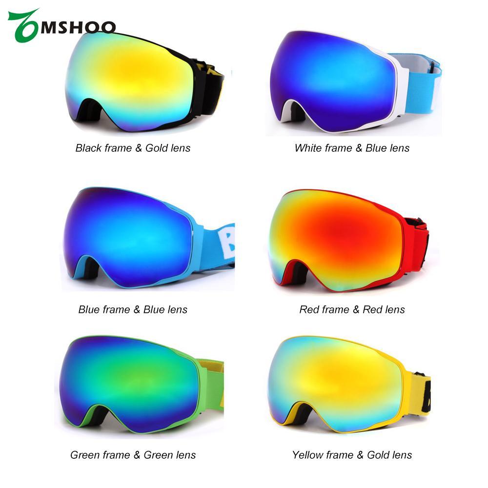 Prix pour Adulte UV Protection De Patinage Lunettes Unisexe Ski Snowboard Anti-brouillard Large Sphérique PC Lentille Anti-slip Strap Casque Compatible