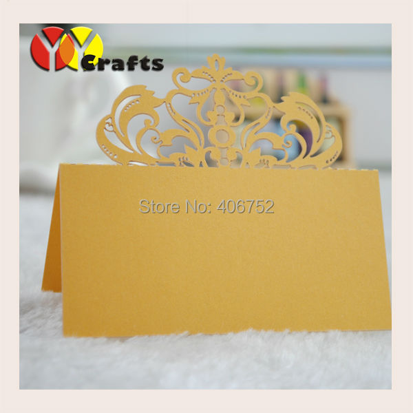 Gold Table Decoration Name Card Crown Laser Cut Table Wedding Cards Wedding  Decoration