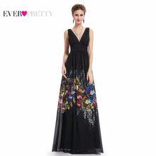 ebd3fa517541 Vestidos de Noite sempre Bonitas Longo de UMA Linha V Pescoço Vestido  Formal Sexy Teste Padrão de Flor de Cetim Vestidos de Fest.