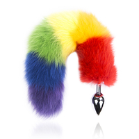 Rainbow Color Anal Fox Tail Anal Plug Butt Plug Sex Toy For Women Men Couple Erotic Adult Game Real Fur Fluffy Animal Cat Tail