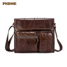 PNDME zipper sofp cowhide Leather casual men's bag genuine leather men's shoulder bag Crossbody bags first layer cowhide недорого