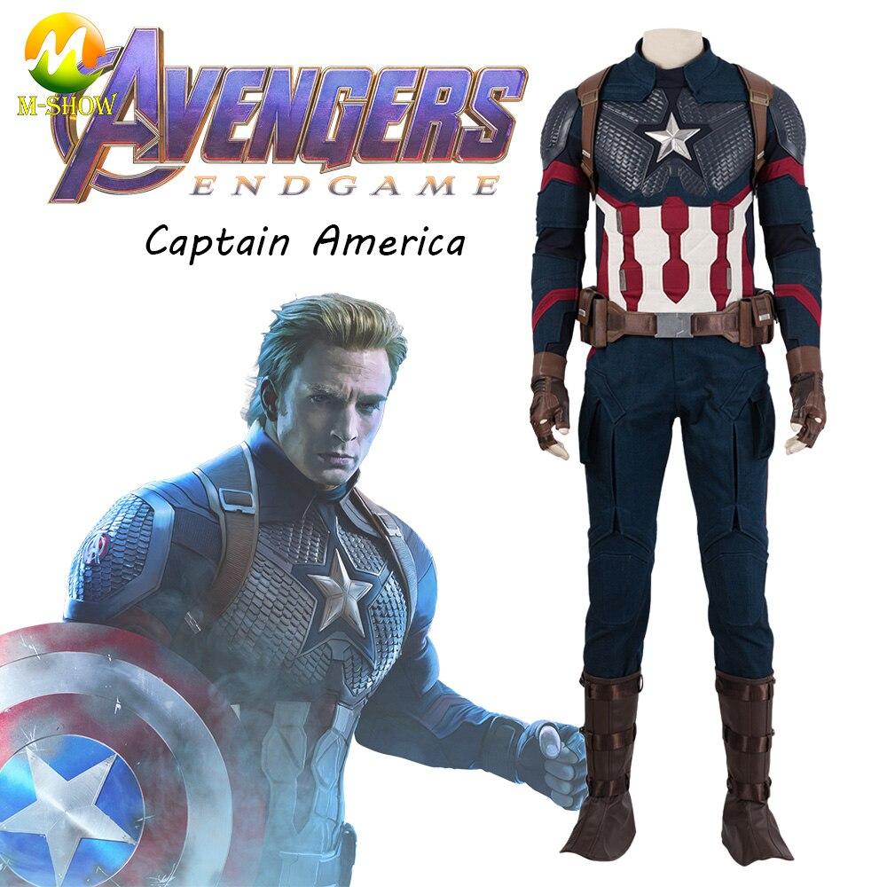 Avengers Endgame Captain America Cosplay Kostuum Steve Rogers Cosplay Volledige Set Kerst Carnaval Halloween Party Duidelijk Effect