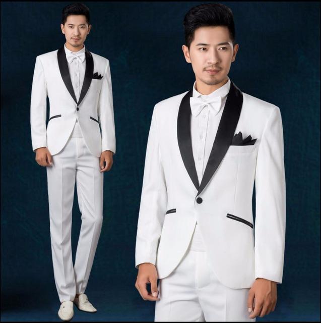 (Jaqueta + Calça) Branco dos homens do casamento do noivo vestido de terno traje do estágio cantora festa de formatura Coro blazers magros vestido formal