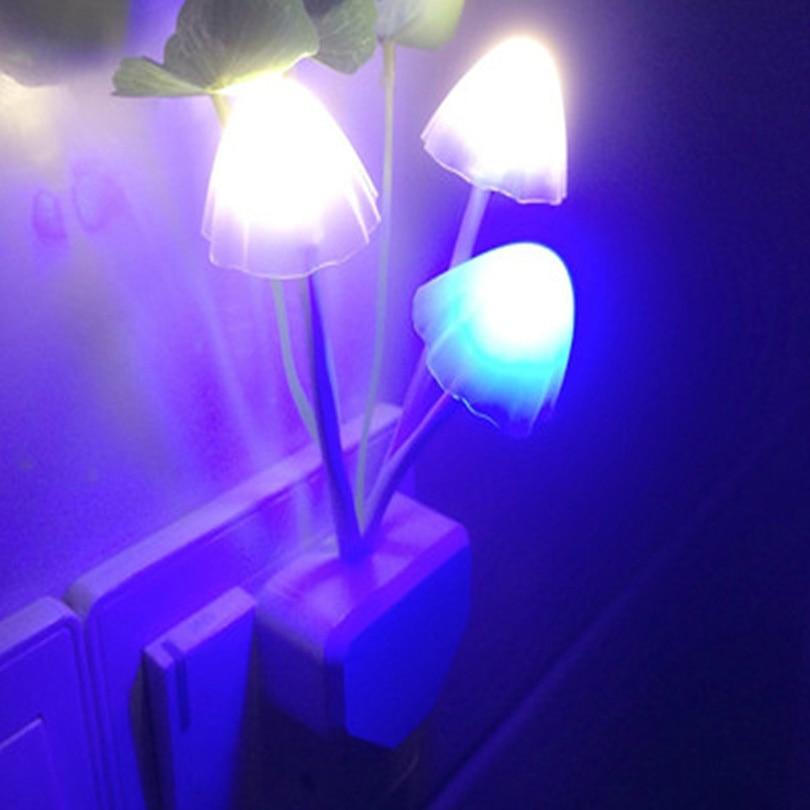 Energy saving Romantic Colorful 3 LED mushroom lamp Eye protection motion sensor led Night Light for children room Wall Lamp