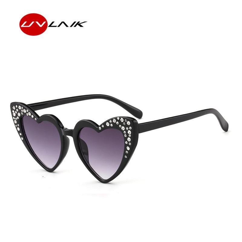 UVLAIK Fashion Cute Heart Sunglasses Kids Love Cat Eye Glasses Children Heart shaped Eyeglasses For Kids Girls Boys Child UV400