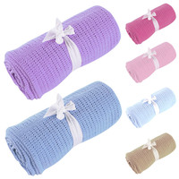 Newborn Baby Blankets Super Soft Cotton Crochet Summer 80cmx92cm Candy Color Prop Crib Casual Sleeping Bed