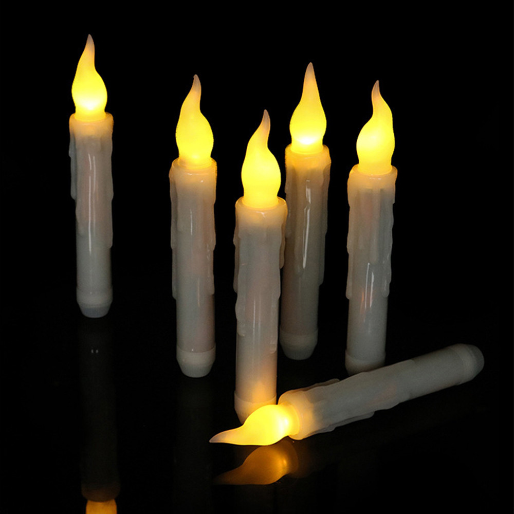 Candles 5pcs 11led Battery Operated Flickering Flameless Ivory Taper Candle Lamps Stick Candle Wedding Table Room Can Be Repeatedly Remolded.