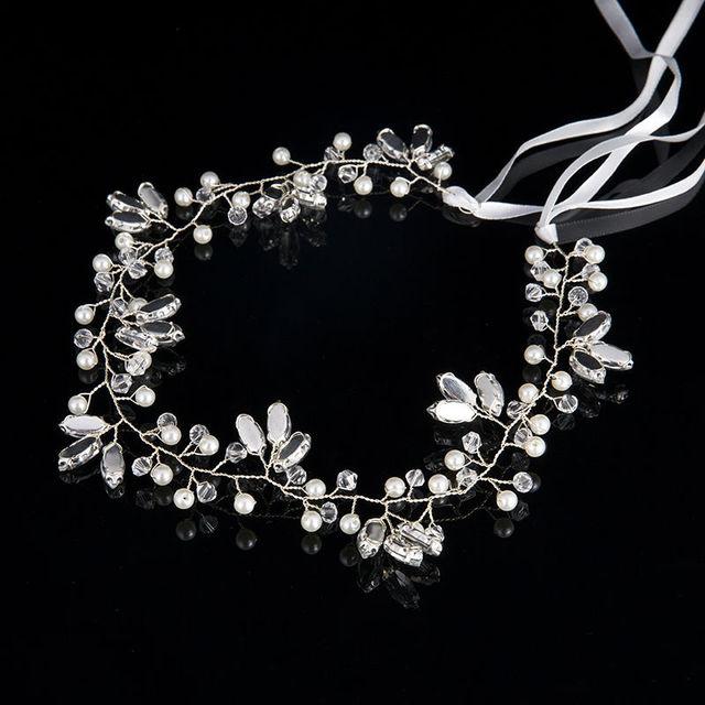 2017 Romantic Elegant Ornament Luxury Fashion Wedding Headband Pearl Crystal Flower Bride Headdress Wedding Jewelery Ribbon Hair