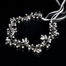 2017 Romántico Elegante Diadema de Perlas de Cristal Adorno de La Boda de Moda de Lujo Flor del Tocado de La Novia de La Boda Joyería de La Cinta Del Pelo