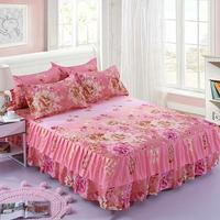 1pc Aloe Cotton Bed Skirt Two Layer Lace Bedspread Fashion Flower Elastic Ruffled Bed Cover Lace Fitted Sheet