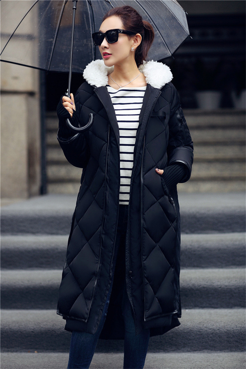 New Coat Female Loose Large Size Long Down Cotton Women Winter Jacket Padded Coat Hood Women Winter Jackets And CoatsTT141 2017 winter version of the new south korean edition of cotton dress short dress and a large size cotton padded jacket