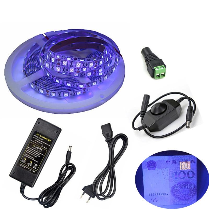 12 v luz preta ultravioleta smd 5050 60 leds/m led uv luz de tira led fita lâmpada flexível roxa + interruptor dimmer + adaptador de energia 12 v