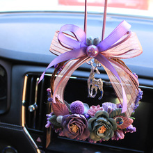 Truck Rearview Mirror Hanging Rose Car Interior Fawn Ring Lifting pink girl car christmas decoration