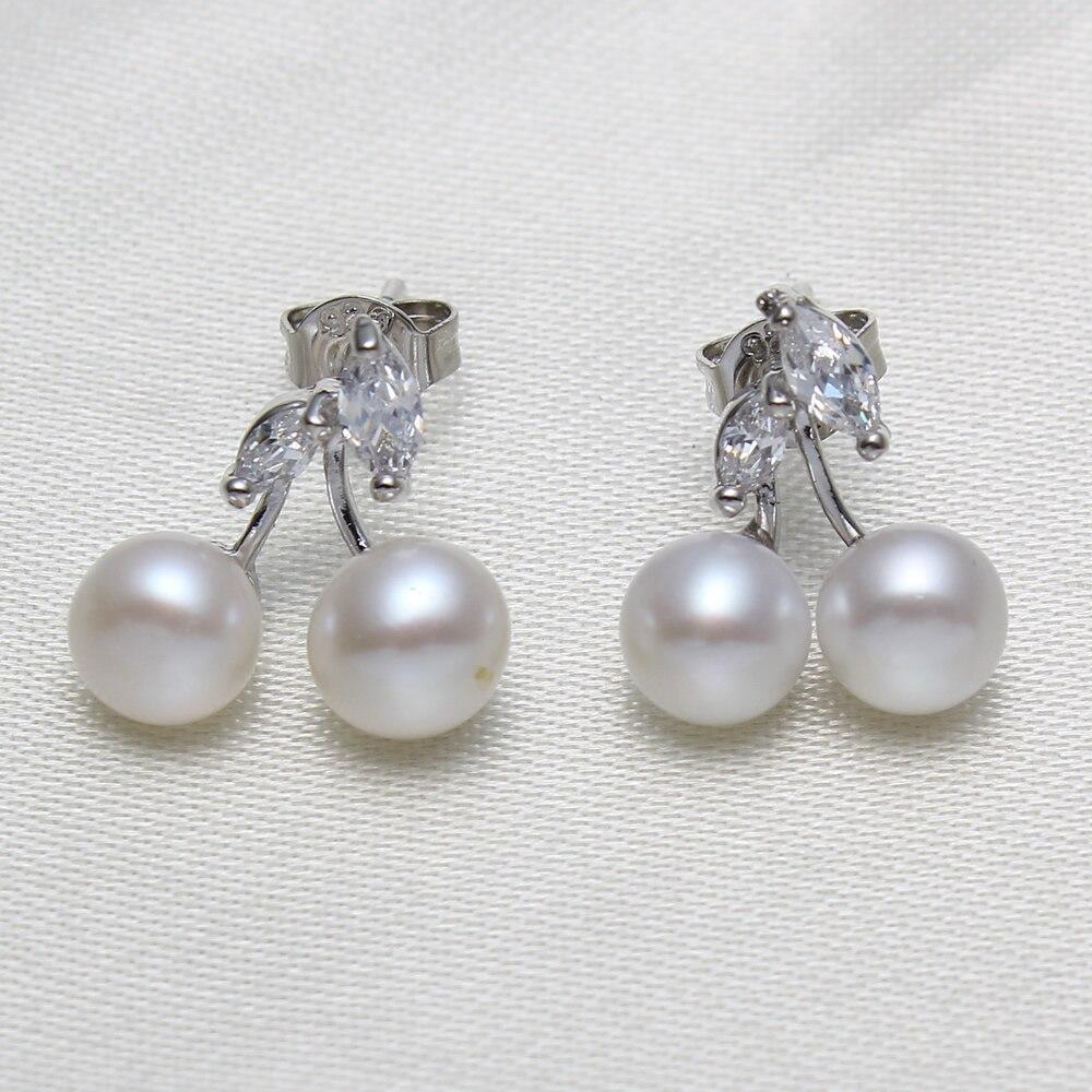 Fashion 925 Sterling Silver Elegant Beauty Frsherwater Pearls Earrings  Round White Pearl Stud Earrings Women Engagement