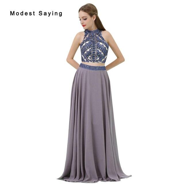 Großhandel Elegante Grau A Line 2 Stück Prom Kleider 2017 mit Strass ...