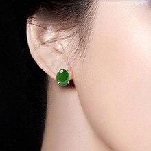 2 Pairs/Lot Natural Green Malay Jade Round Stud Earrings Beautiful Earring Trendy Women's Fashion Jade Jewelry