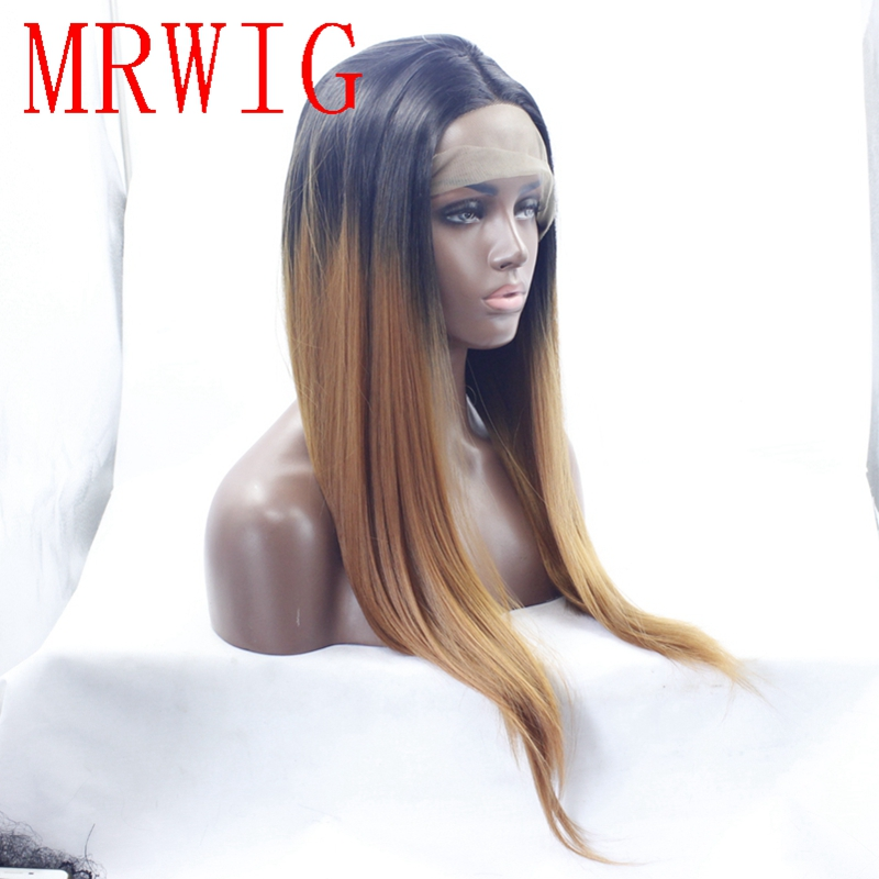 MRWIG 18in real hair 1b#/30# auburn hair color middle part synthetic front lace wig short dark roots(8in 1b#)
